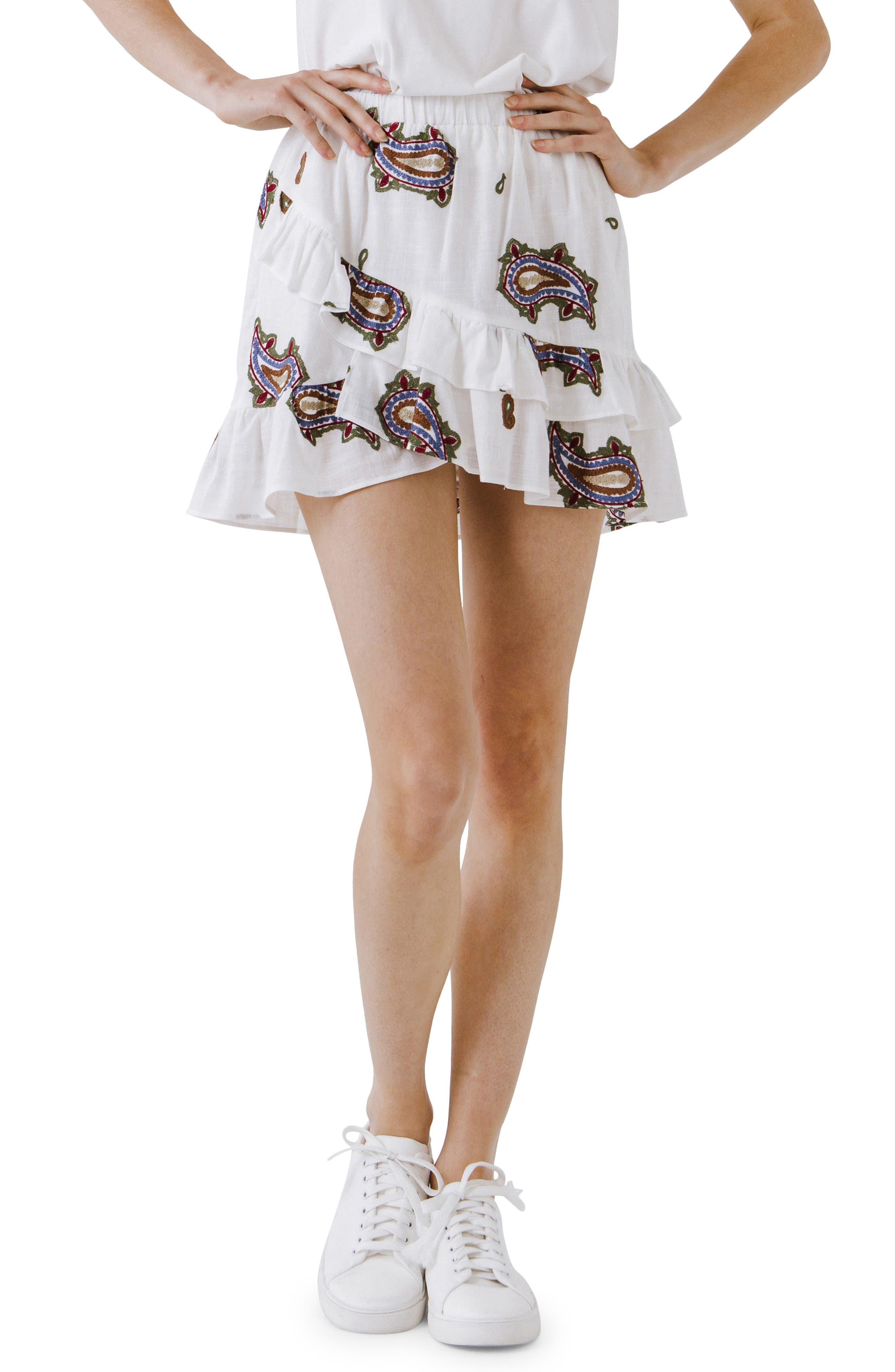 Paisley Embroidery Tiered Ruffle Cotton Miniskirt