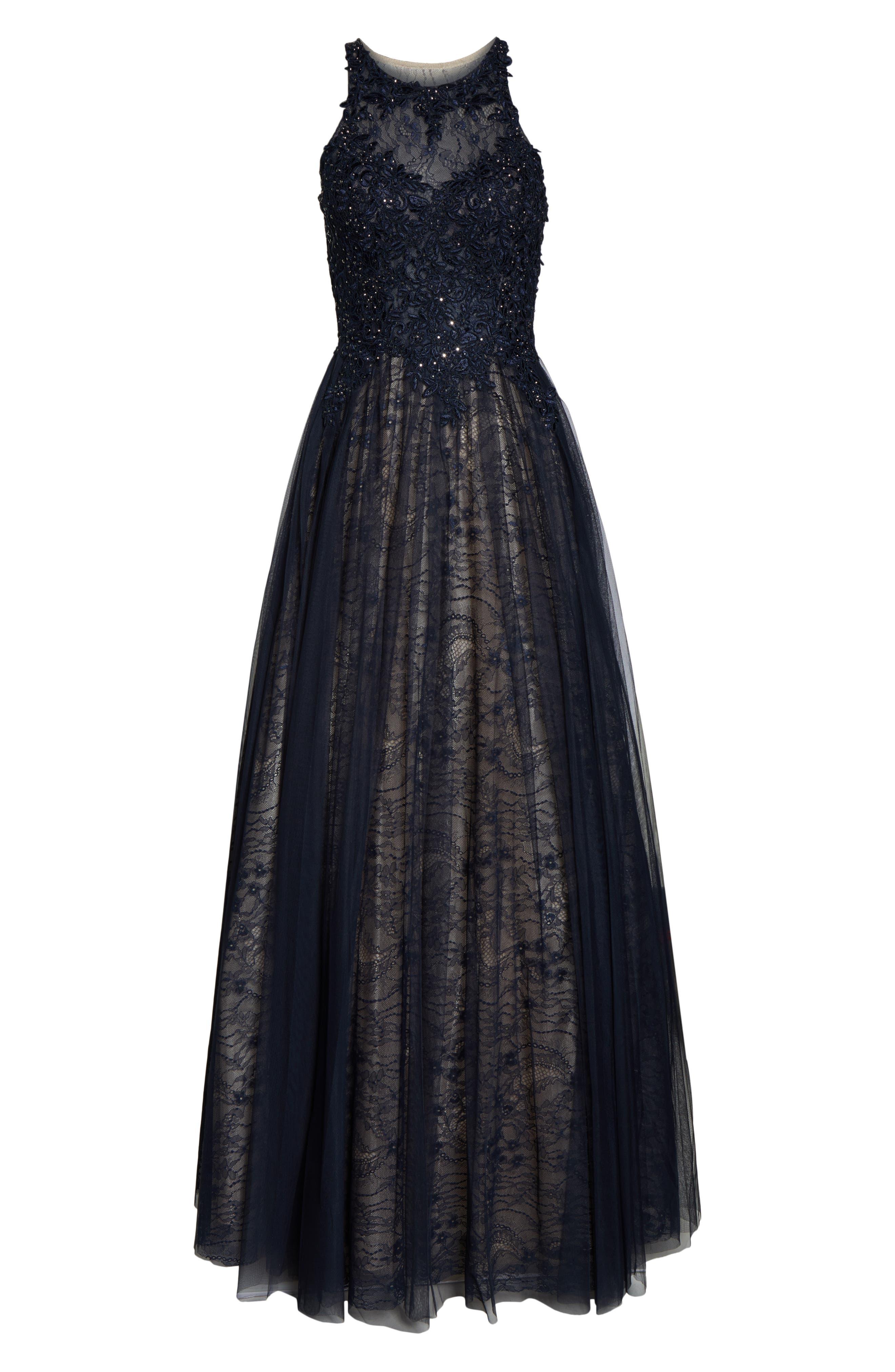 ,                             Sparkling Lace Evening Dress,                             Alternate thumbnail 5, color,                             NAVY
