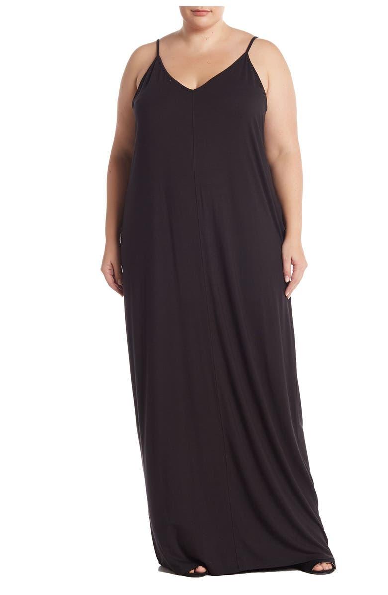 ABOUND V-Neck Sleeveless Maxi Dress, Main, color, BLACK