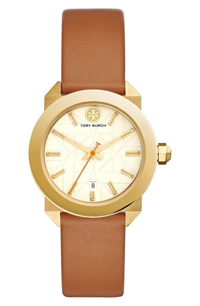 TORY BURCH Whitney Leather Strap Watch, 35mm, Main, color, BROWN/ IVORY/ GOLD