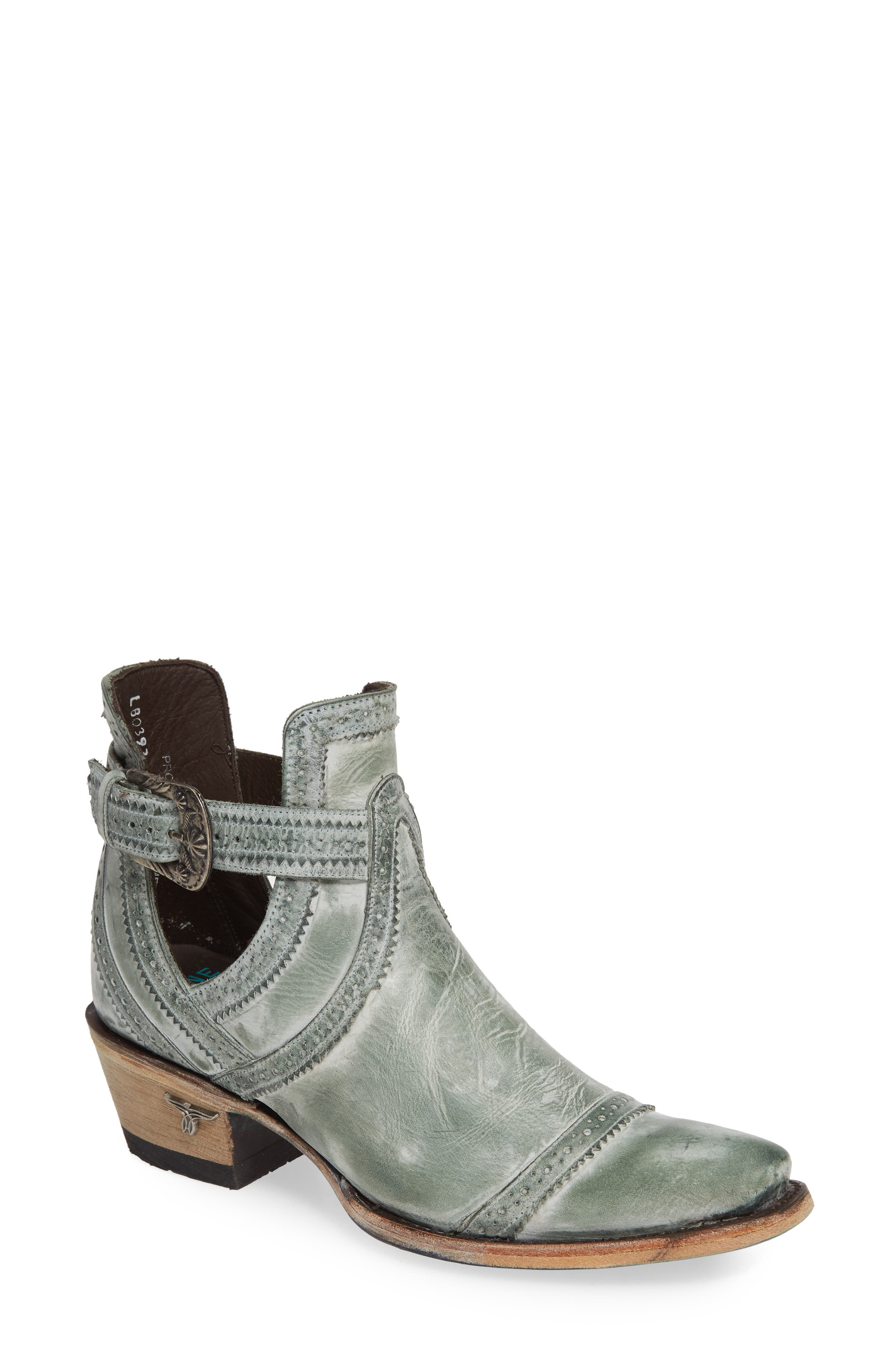 Handcrafted by skilled artisans in Leon, Mexico, this beautiful leather boot features eye-catching stitch detailing and a Western buckle at the ankle strap. Style Name: Lane Boots Cahoots Bootie (Women). Style Number: 5727886. Available in stores.