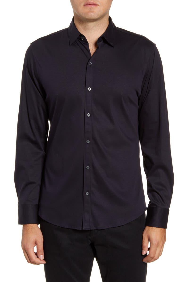 ZACHARY PRELL Lam Regular Fit Button-Up Sport Shirt, Main, color, NAVY