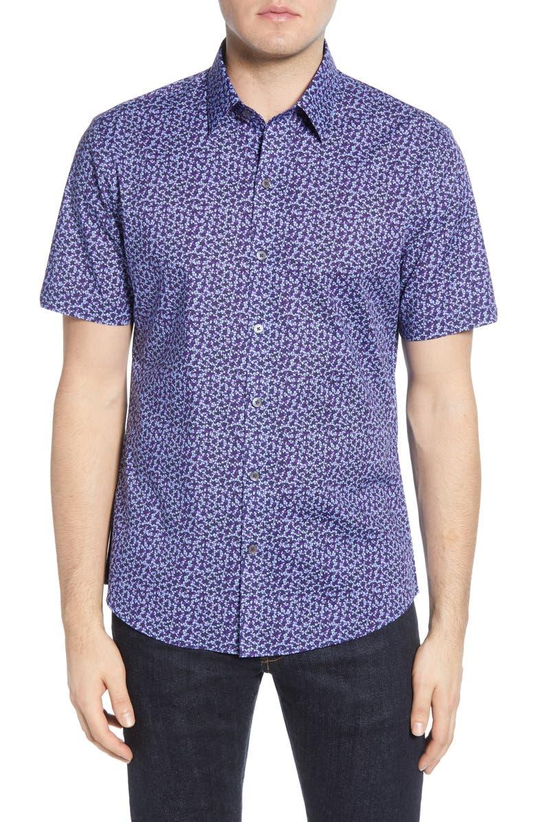 ZACHARY PRELL Bronwen Regular Fit Short Sleeve Button-Up Sport Shirt, Main, color, NAVY