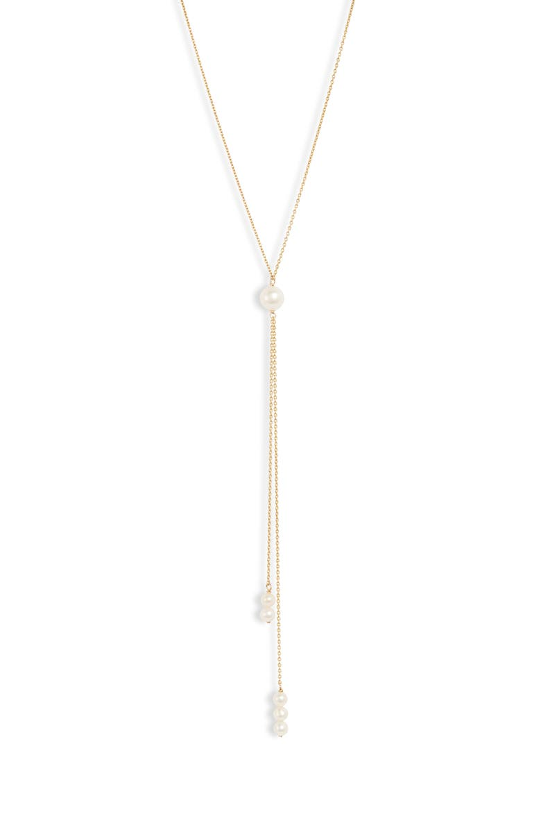 POPPY FINCH Double Pearl Dangle Y-Necklace, Main, color, YELLOW GOLD/ PEARL