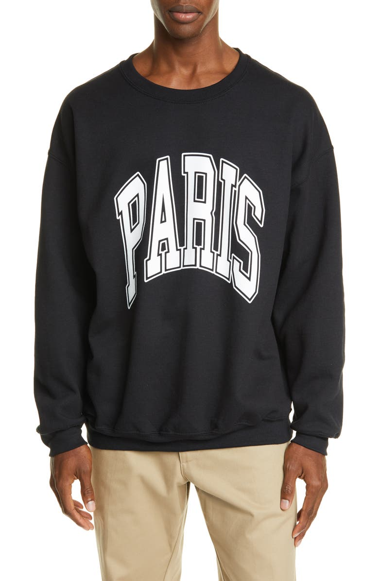 NOON GOONS All City Paris Sweatshirt, Main, color, BLACK (WHITE PRINT)