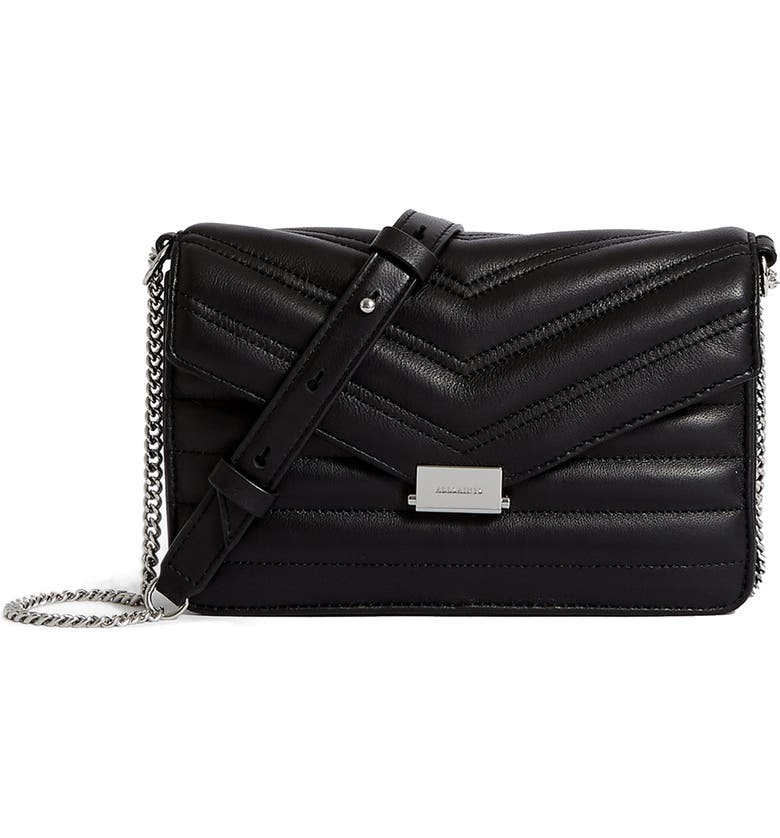 ALLSAINTS Small Justine Quilted Leather Crossbody Bag, Main, color, BLACK