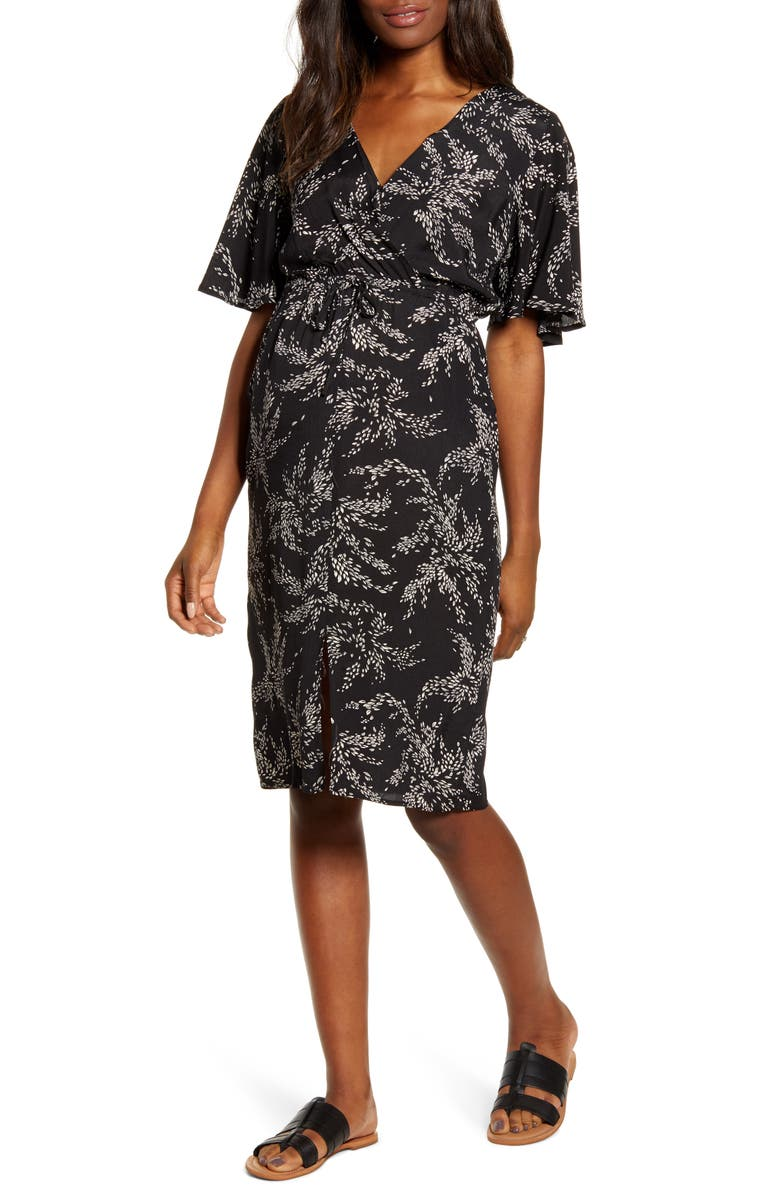 ANGEL MATERNITY Bella Maternity/Nursing Dress, Main, color, BLACK PRINT