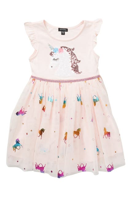 Image of Zunie Unicorn Foil Ruffle Sleeve Dress