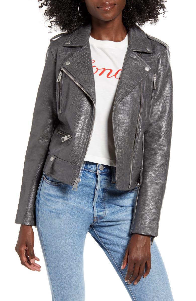 LEVI'S<SUP>®</SUP> Faux Leather Moto Jacket, Main, color, GREY CROC