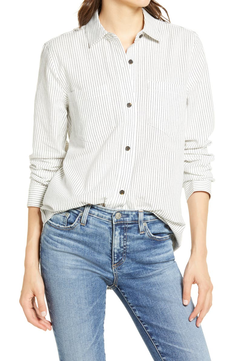 MADEWELL Classic Ex-Boyfriend Shirt, Main, color, CRINKLE STRIPE
