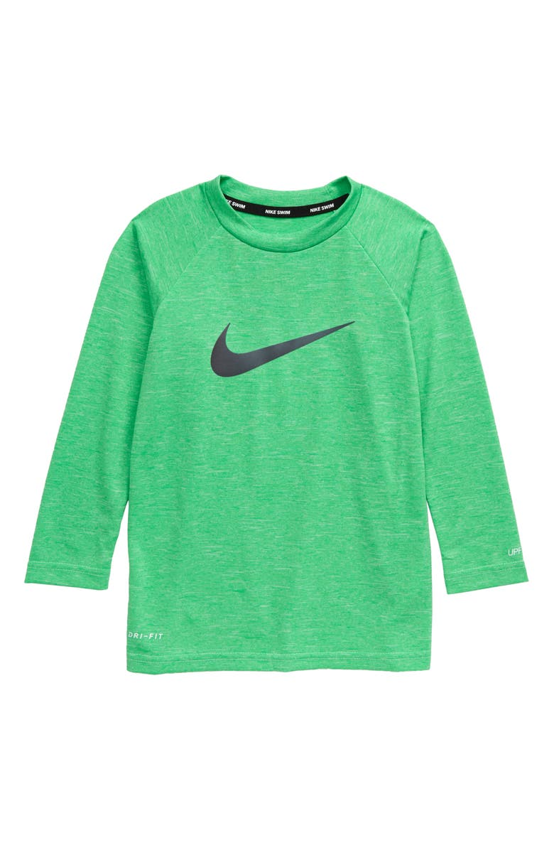 NIKE Long Sleeve Rashguard, Main, color, GREEN