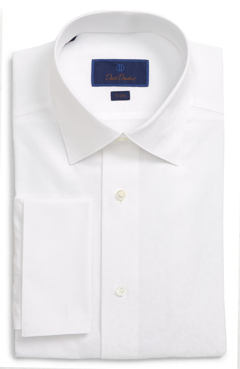DAVID DONAHUE Trim Fit Tuxedo Shirt, Main, color, WHITE