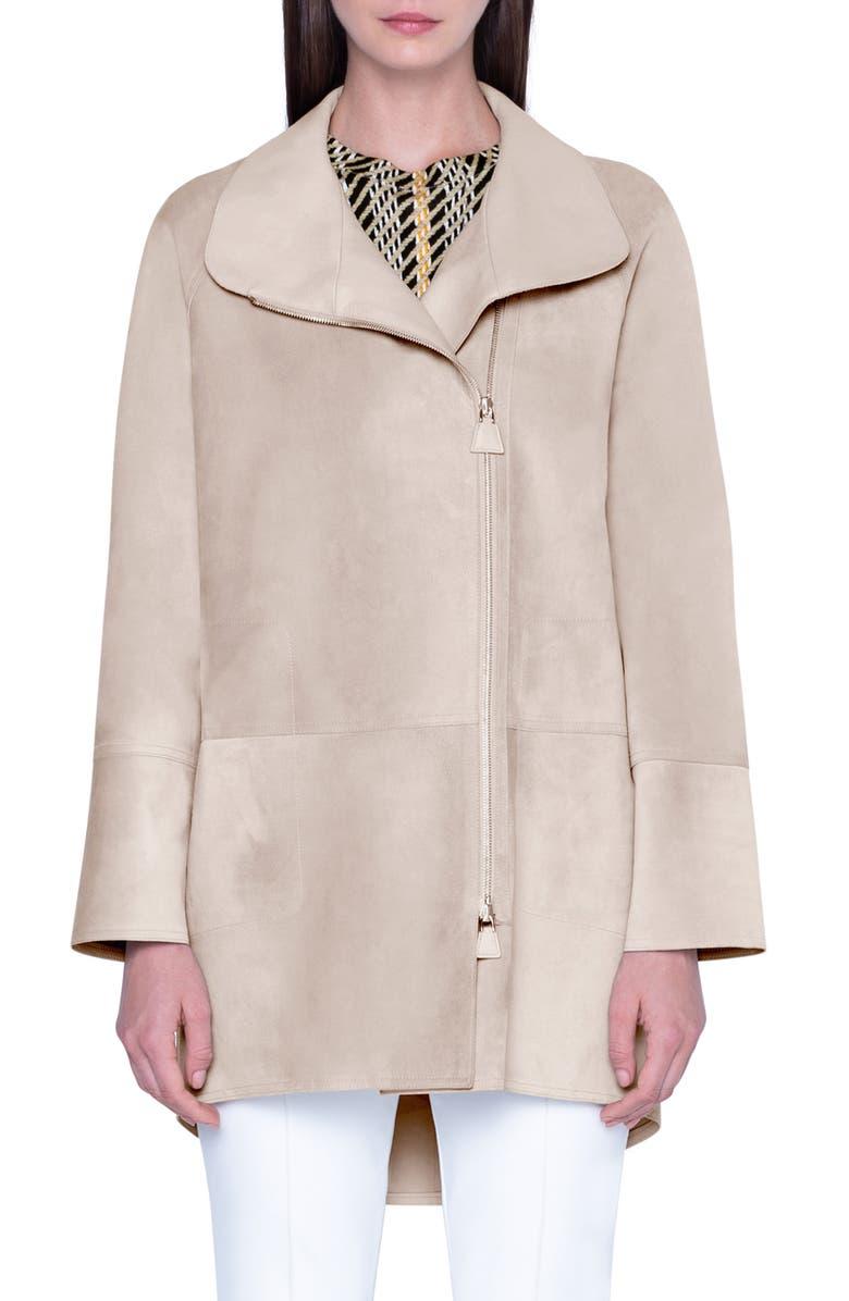 AKRIS Waterproof Suede Jacket, Main, color, CLAY