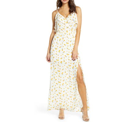 All In Favor Floral Ruffle Side Slit Maxi Dress, Ivory