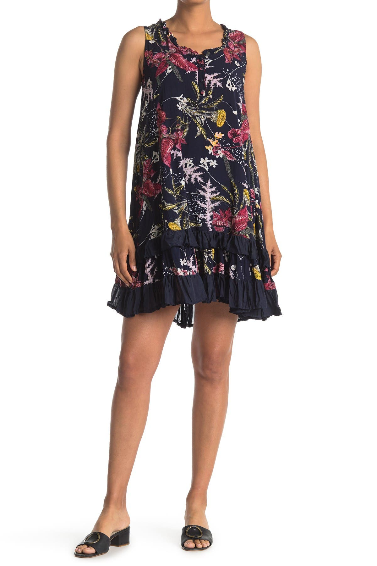 Image of Papillon Floral Ruffle Tiered Sleeveless Dress