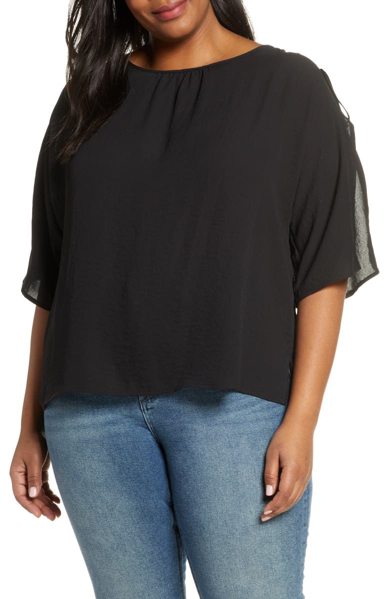 VINCE CAMUTO Split Sleeve Georgette Blouse, Main, color, RICH BLACK