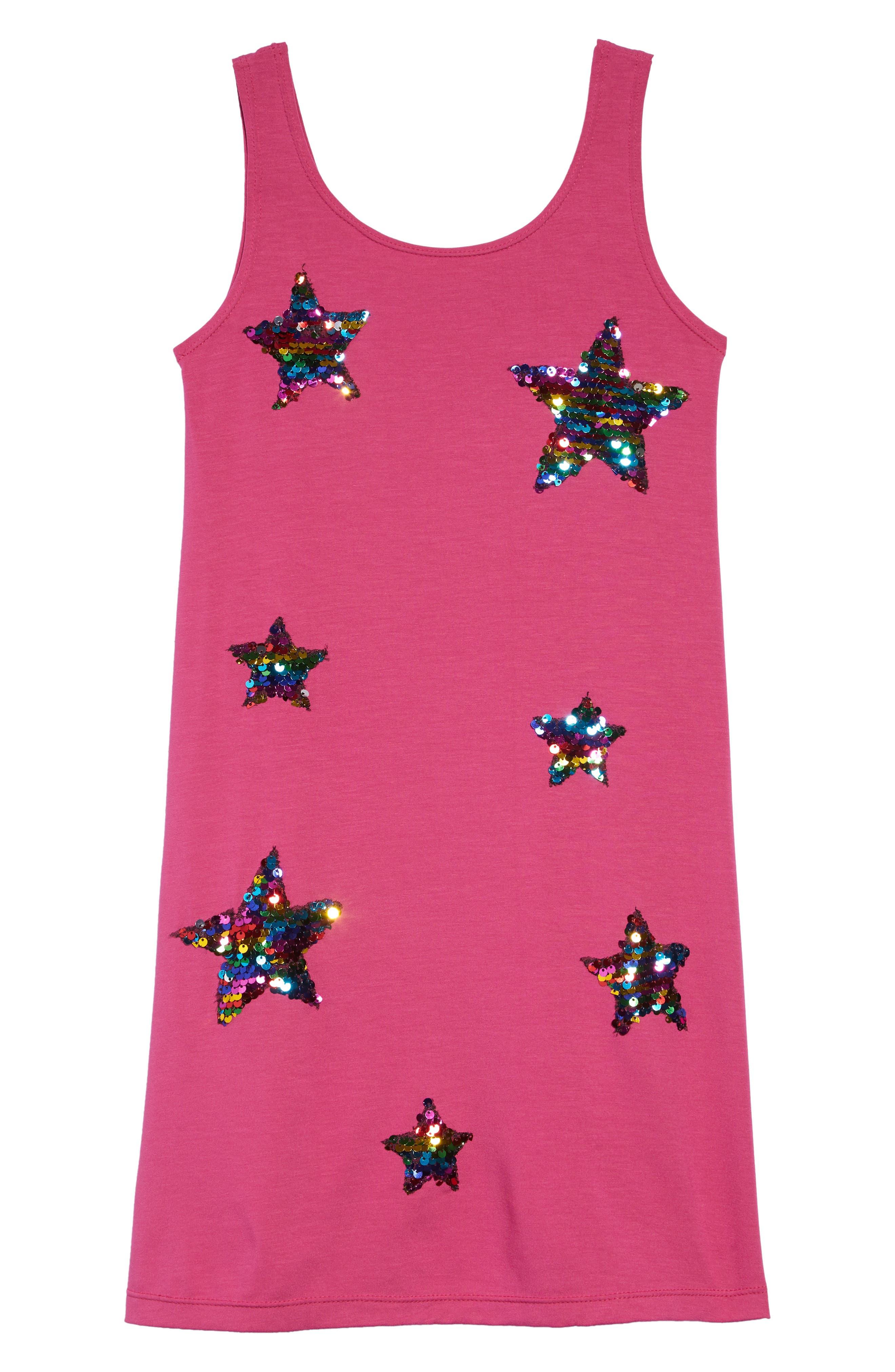 Girls Flowers By Zoe Sequin Stars Sleeveless Shift Dress Size M (8)  Pink