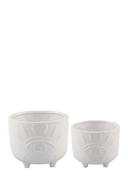 "Image of FLORA BUNDA Matte White 6"" & 4.75"" Evil Eye Ceramic Footed Planter- Set of 2"