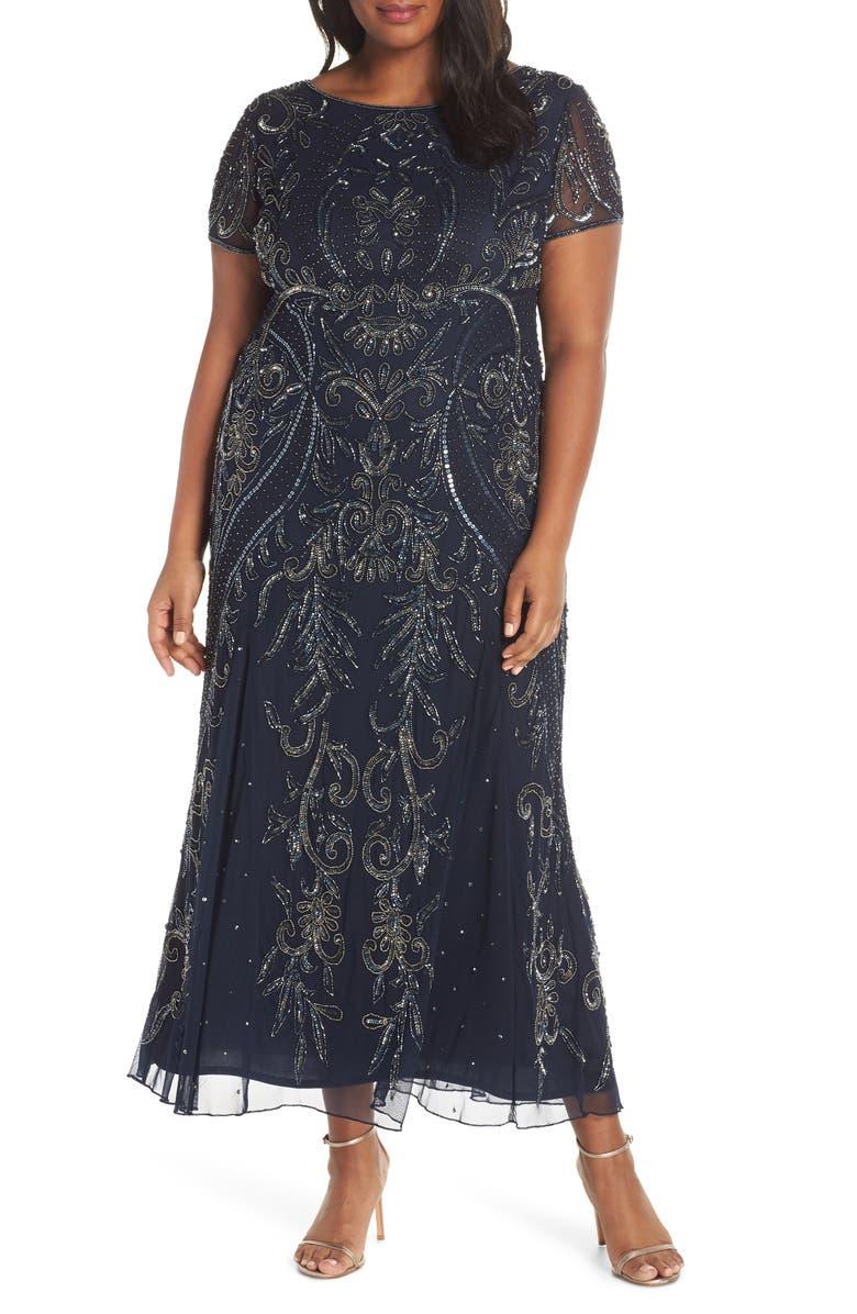 PISARRO NIGHTS Embellished Mesh Maxi Dress, Main, color, 410