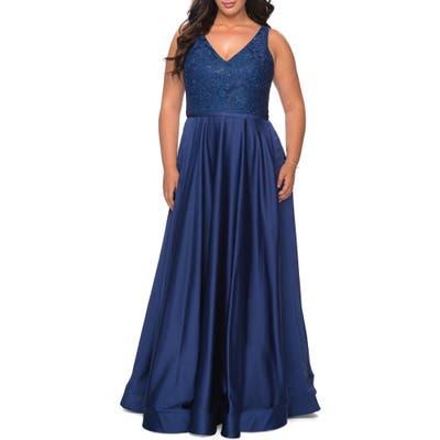 Plus Size La Femme Sequin Lace Bodice Gown, Blue
