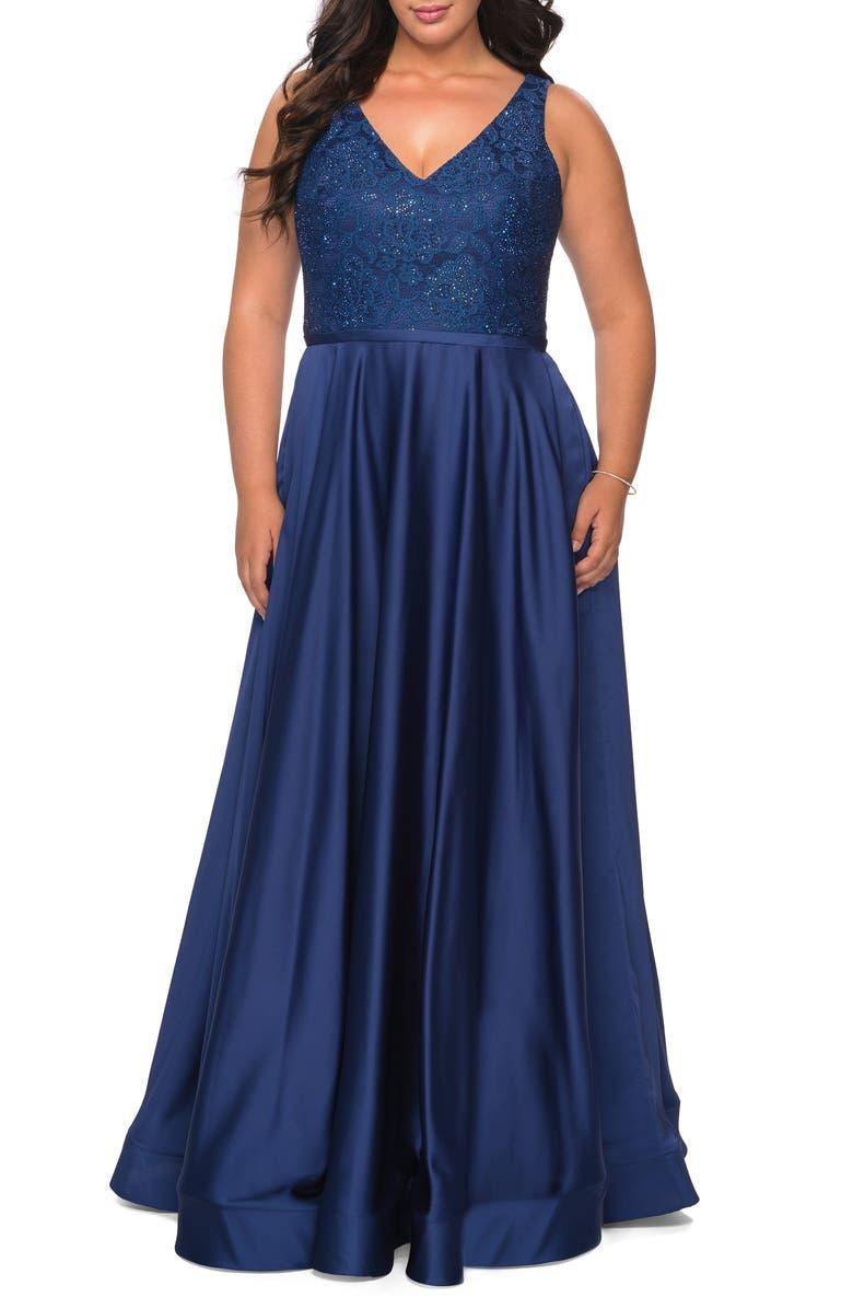 LA FEMME Sequin Lace Bodice Gown, Main, color, NAVY