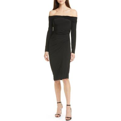 Jason Wu Off The Shoulder Long Sleeve Jersey Evening Dress, Black