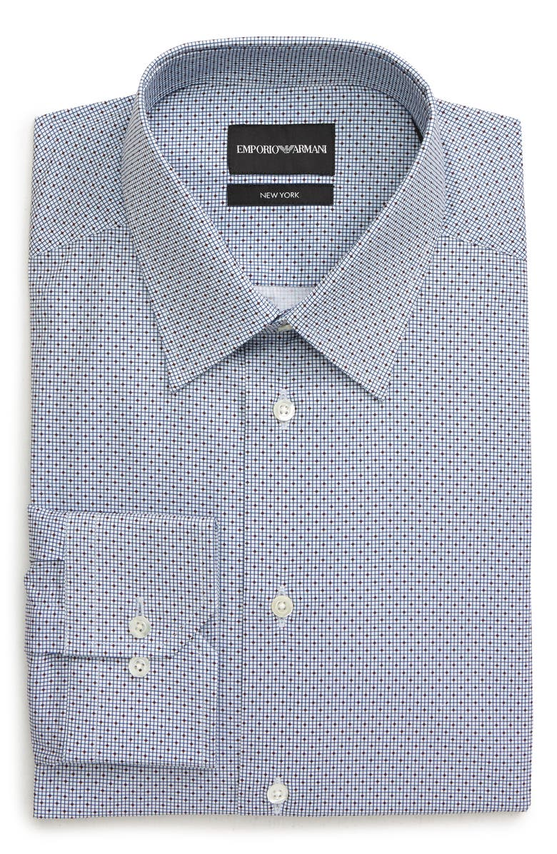 EMPORIO ARMANI Trim Fit Diamond Dress Shirt, Main, color, 124