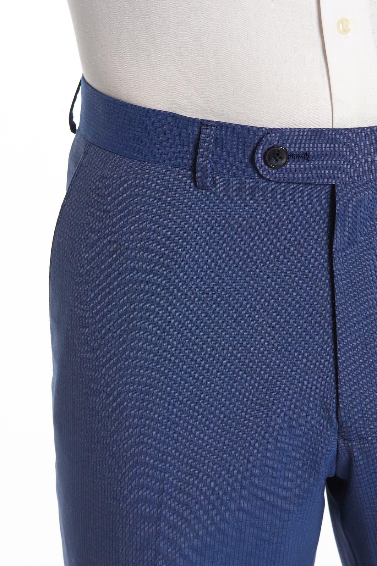Vince Camuto Blue Stripe Two Button Notch Lapel Slim Fit Suit