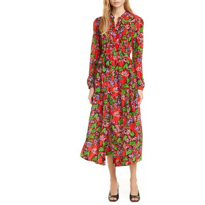 Saloni Remi Long Sleeve Silk Dress, Red