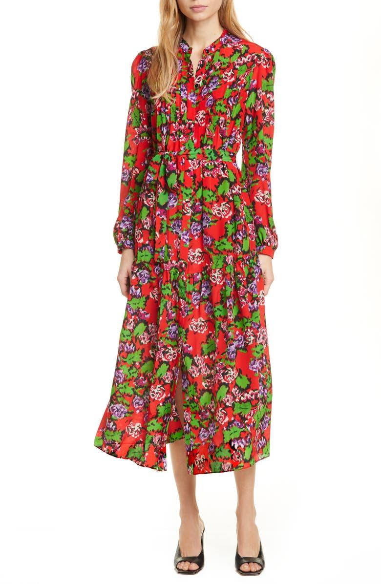 SALONI Remi Long Sleeve Silk Dress, Main, color, CHERRY DAMASK