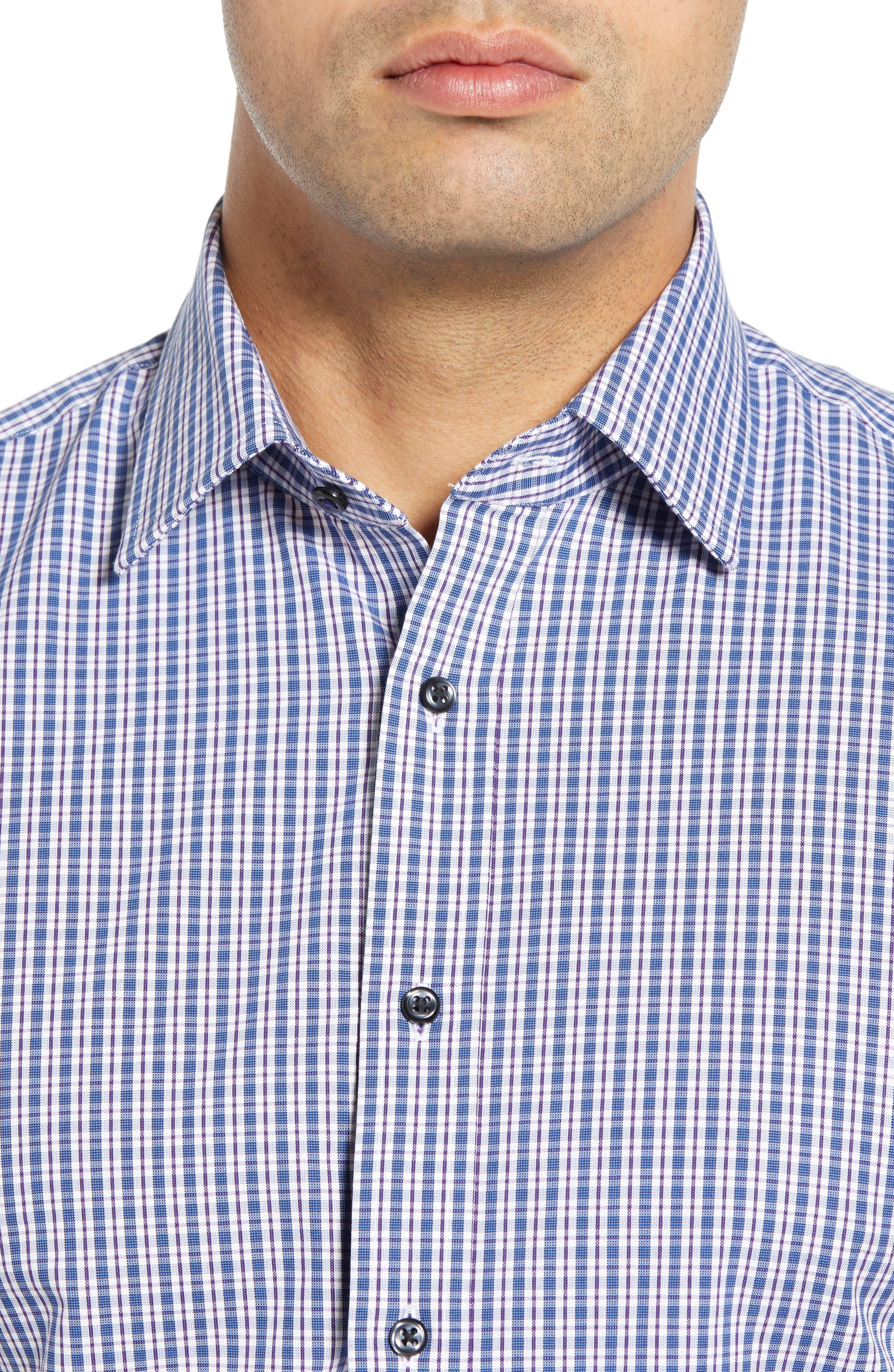 ,                             Tech-Smart Traditional Fit Plaid Stretch Dress Shirt,                             Alternate thumbnail 2, color,                             NAVY DUSK