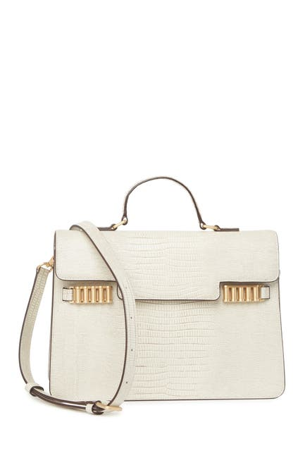 Image of Donna Karan Paola Lizard Embossed Leather Satchel