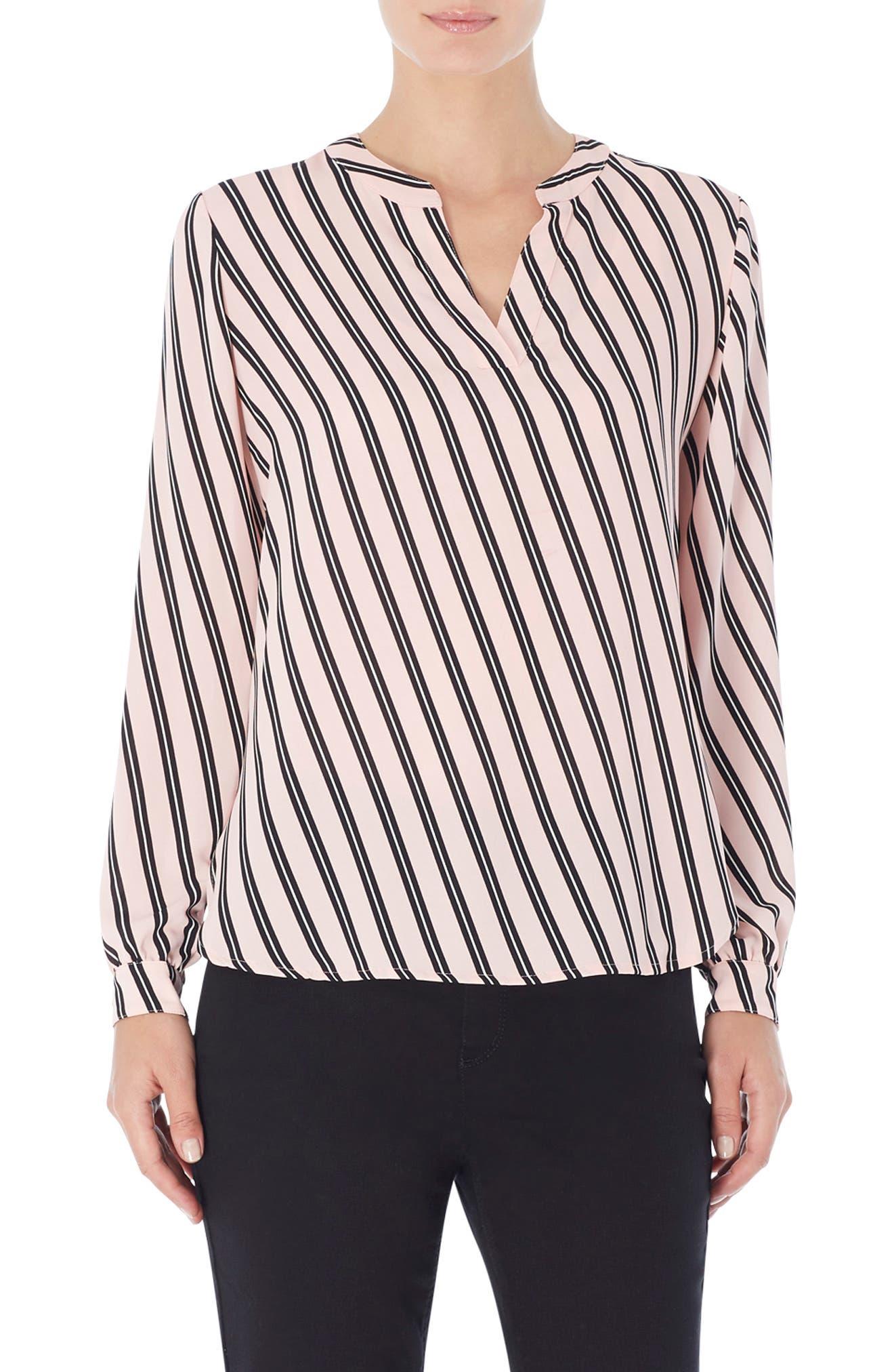 Stripe Split Neck High/low Blouse