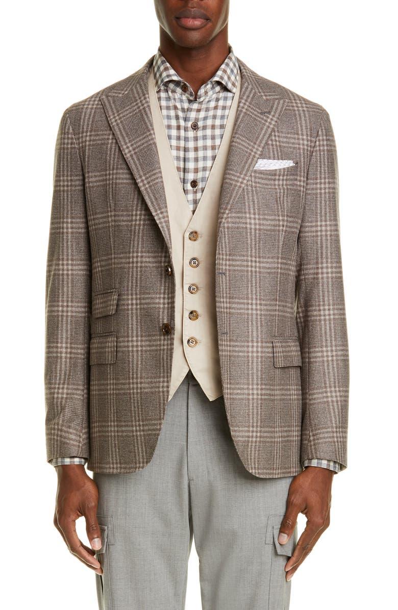 ELEVENTY Trim Fit Plaid Wool Blend Sport Coat, Main, color, SAND