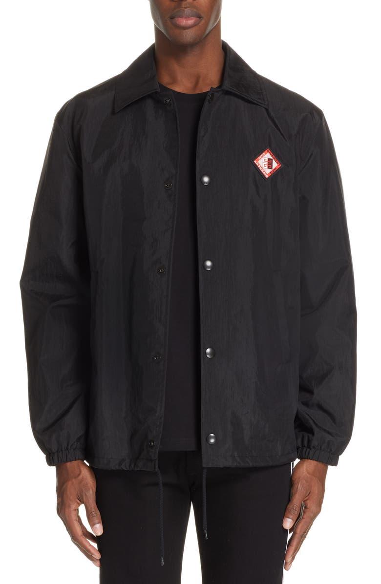 GIVENCHY Nylon Coach Jacket, Main, color, 001