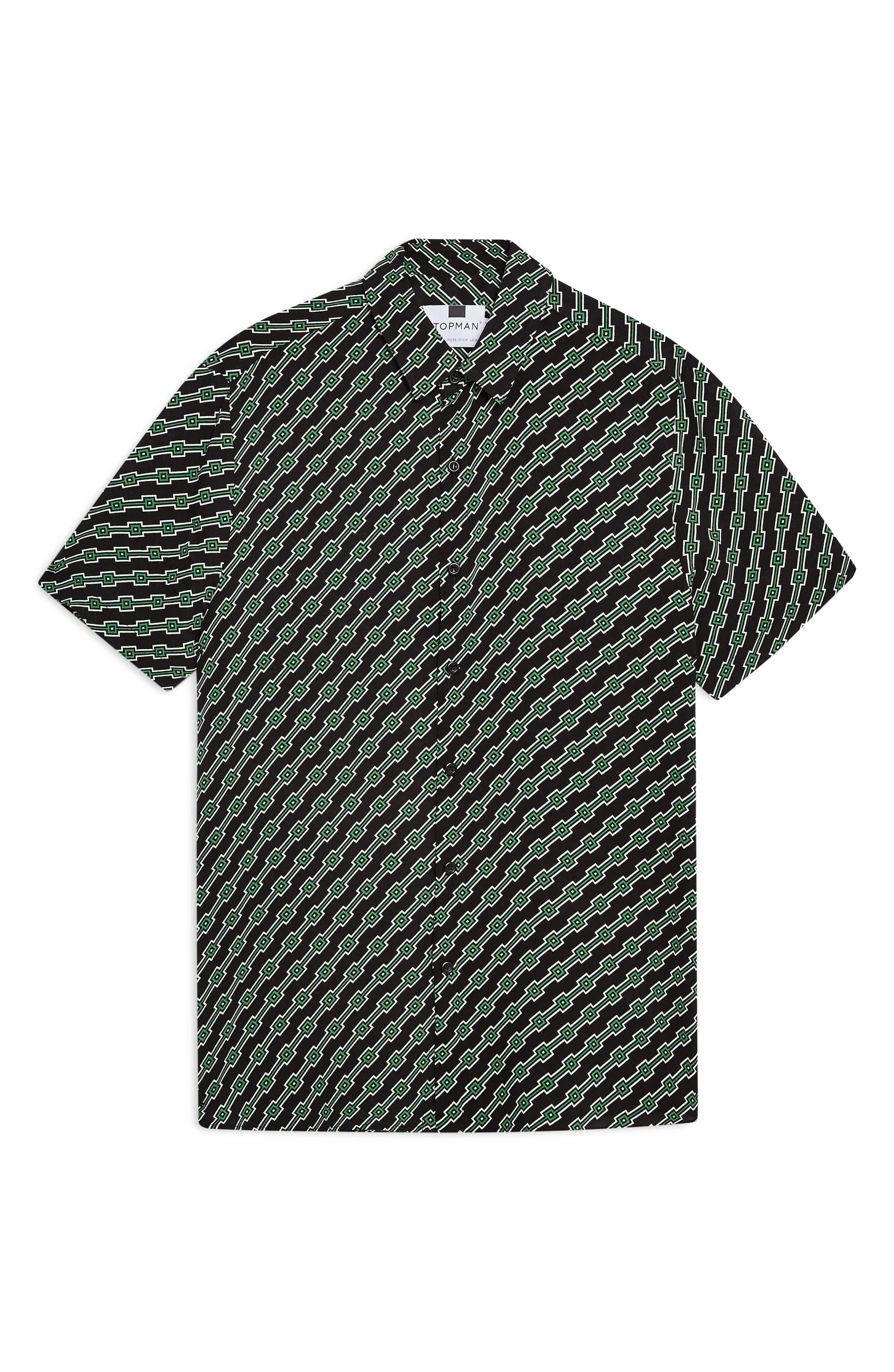 ,                             Slim Fit Geometric Print Shirt,                             Alternate thumbnail 4, color,                             BLACK MULTI