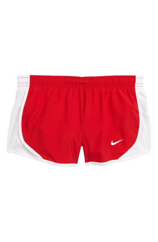 Nike Dri-fit Tempo Big Kids' (girls') Running Shorts In Sport Red/ White/ White/ White