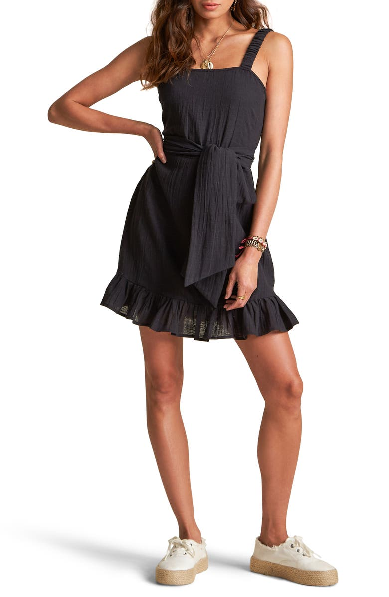 BILLABONG x Sincerely Jules Saw It Coming Sleeveless Cotton Sundress, Main, color, BLACK