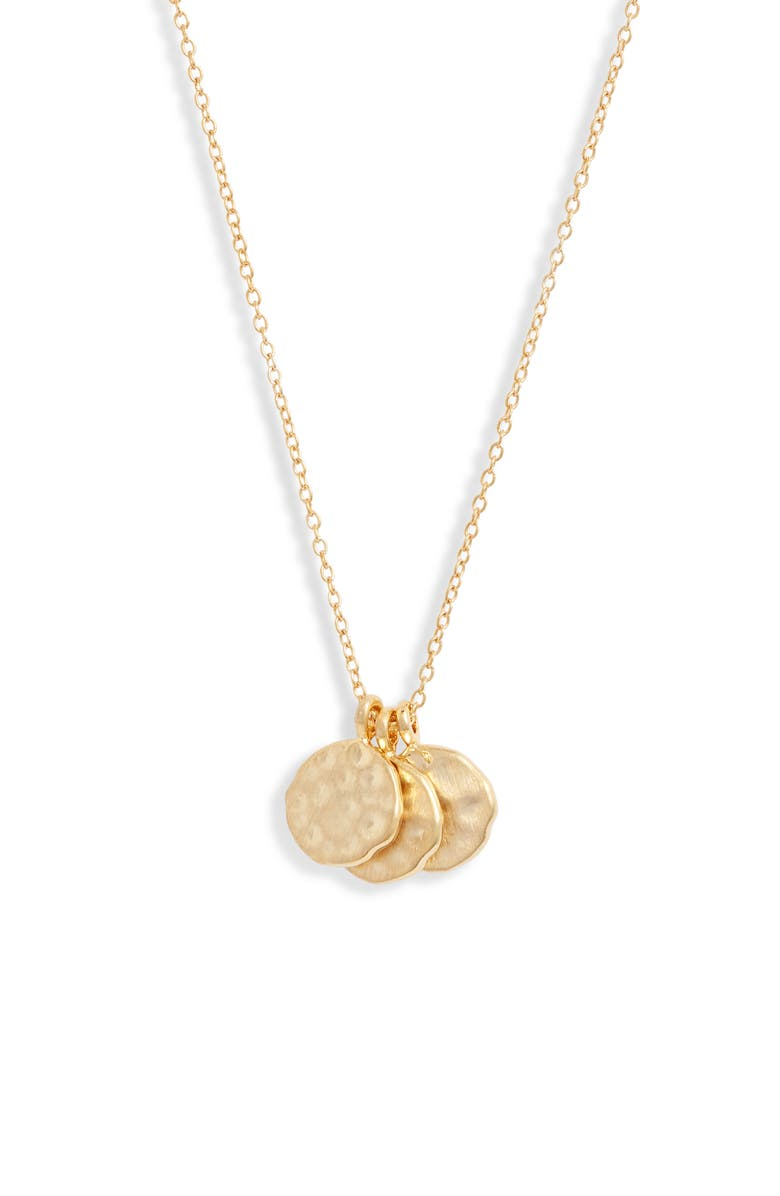 SET & STONES Weslie Cluster Disc Necklace, Main, color, GOLD
