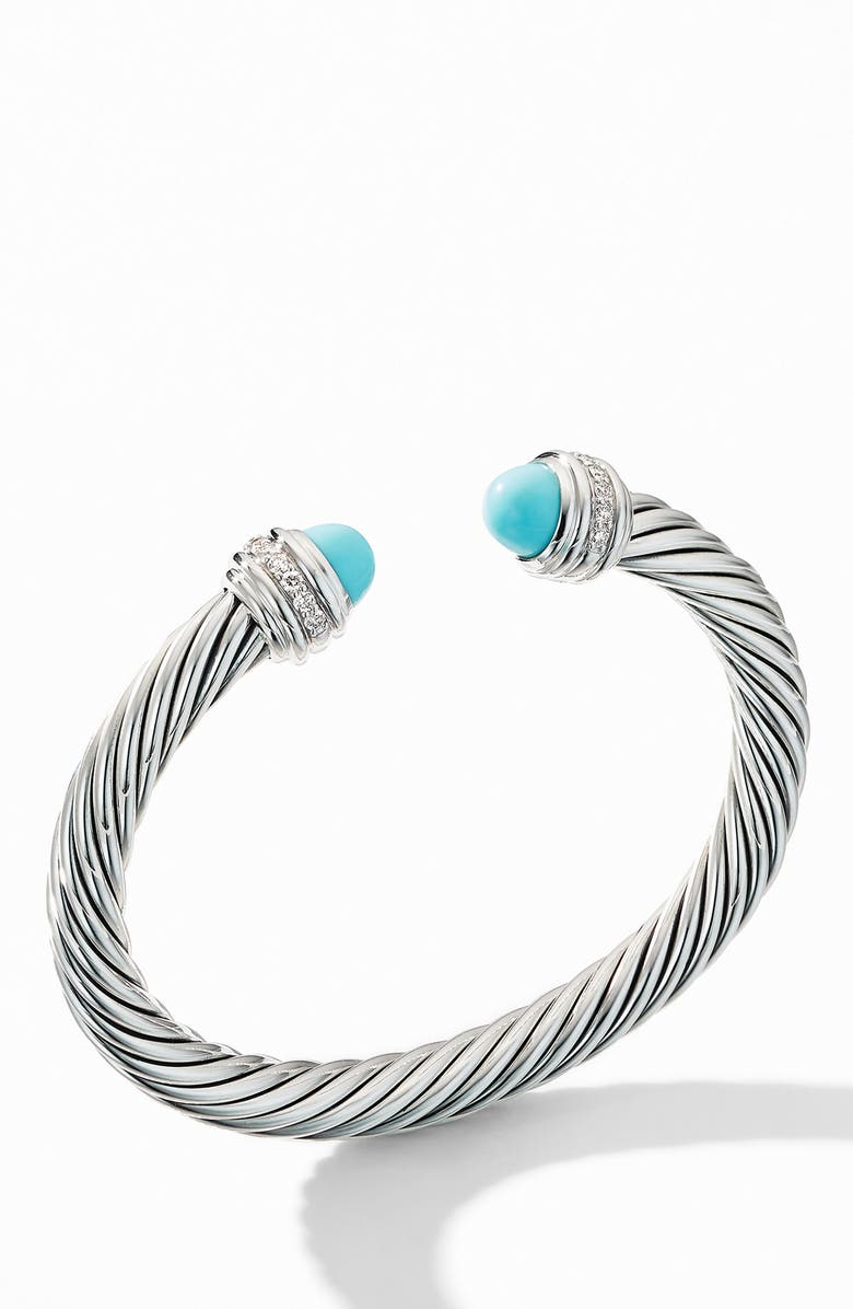 DAVID YURMAN Cable Bracelet with Turquoise and Pavé Diamonds, Main, color, TURQUOISE