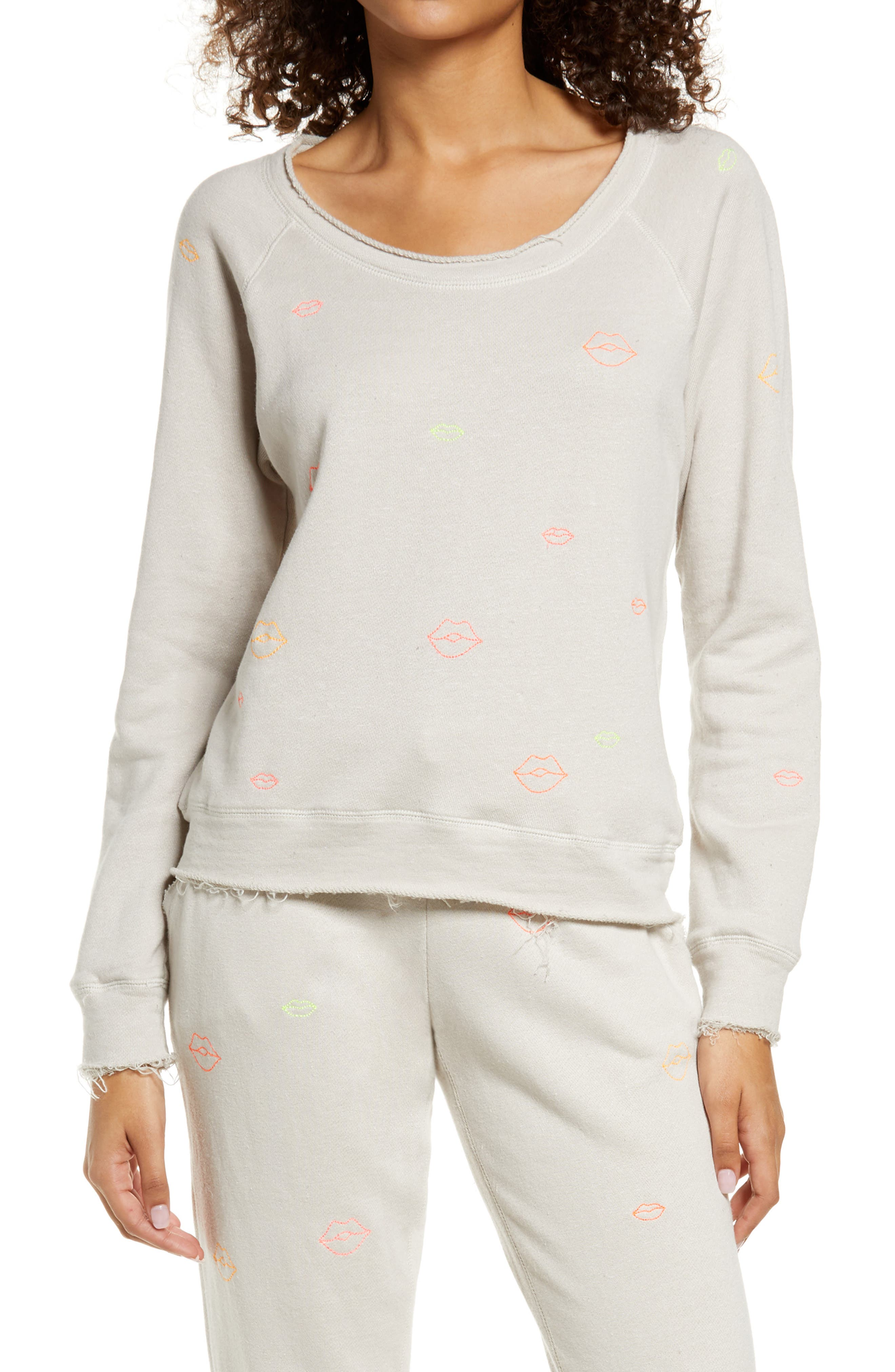 Women's Neon Lips Embroidered Cotton & Linen Pullover