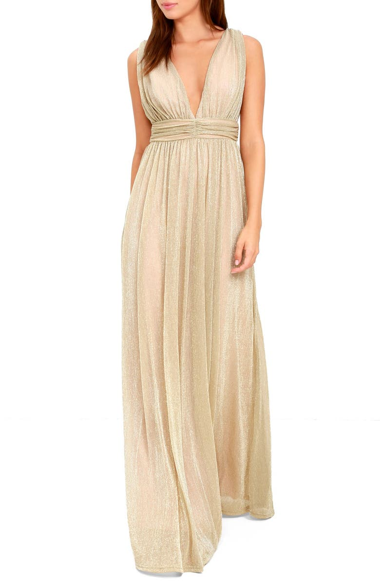 LULUS Plunging Neck Metallic Gown, Main, color, 710