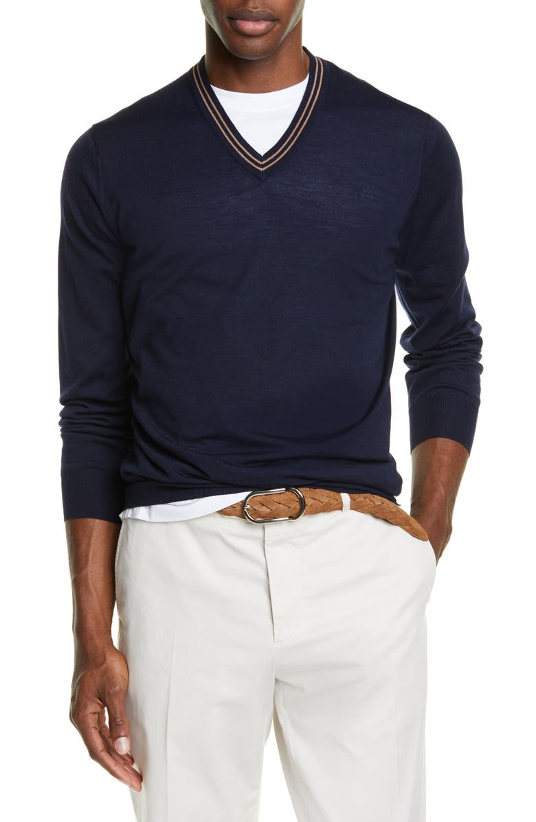 BRUNELLO CUCINELLI Fine Gauge Wool & Cashmere V-Neck Sweater, Main, color, NAVY