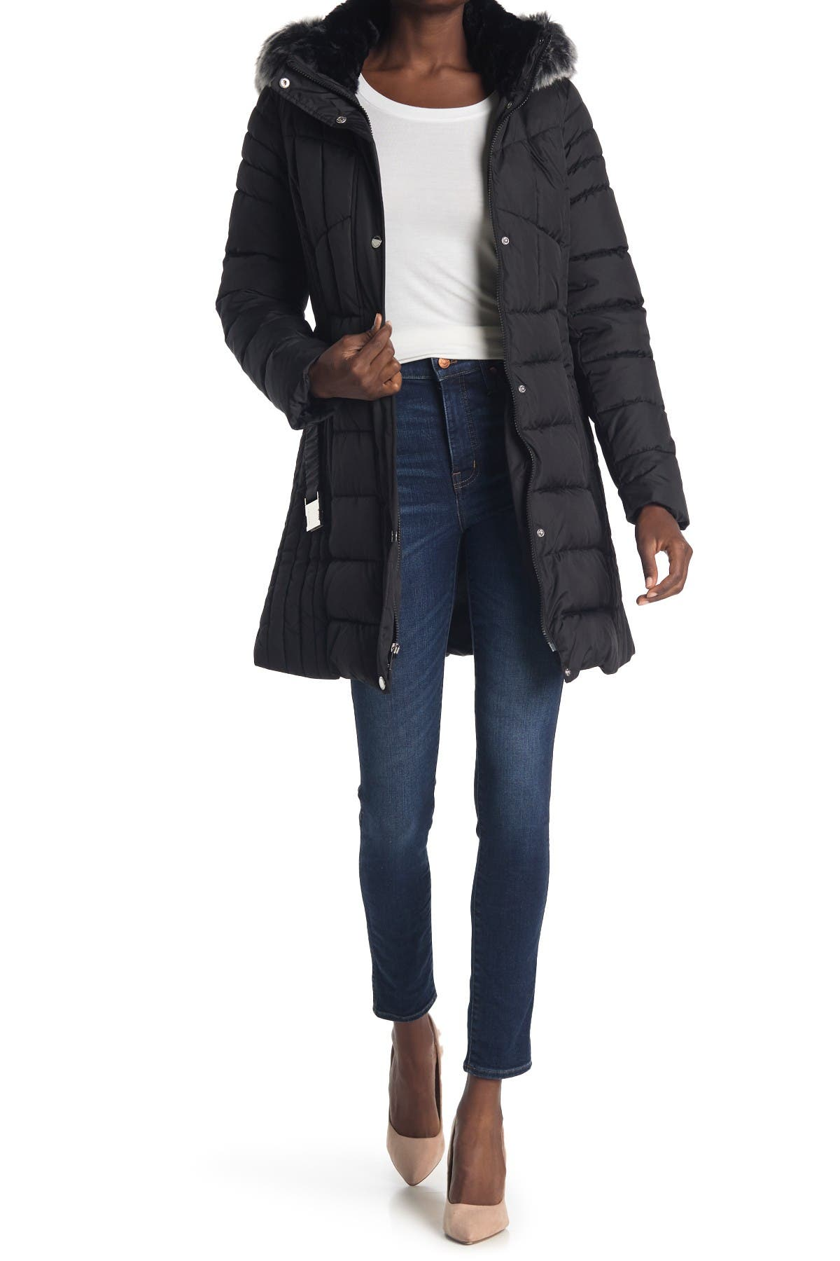 Image of Laundry By Shelli Segal Faux Fur Trimmed Belted Puffer Jacket