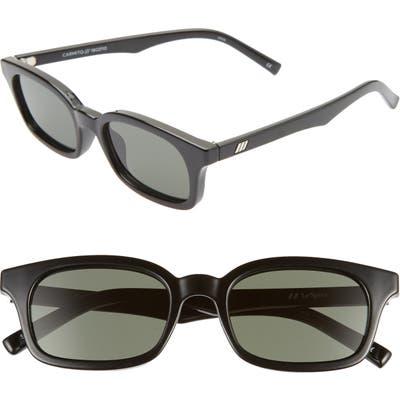 Le Specs Carmito 51Mm Rectangle Sunglasses - Black/ Green Mono