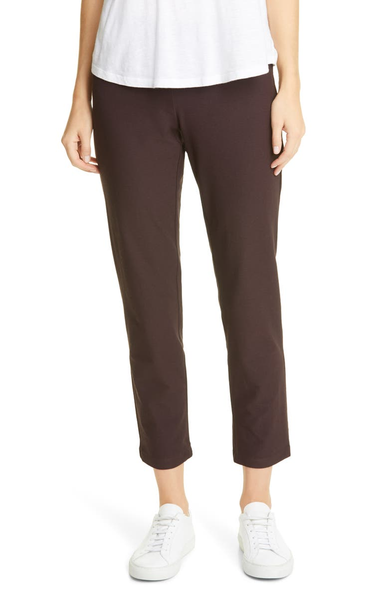 EILEEN FISHER Stretch Crepe Slim Ankle Pants, Main, color, DARK BROWN