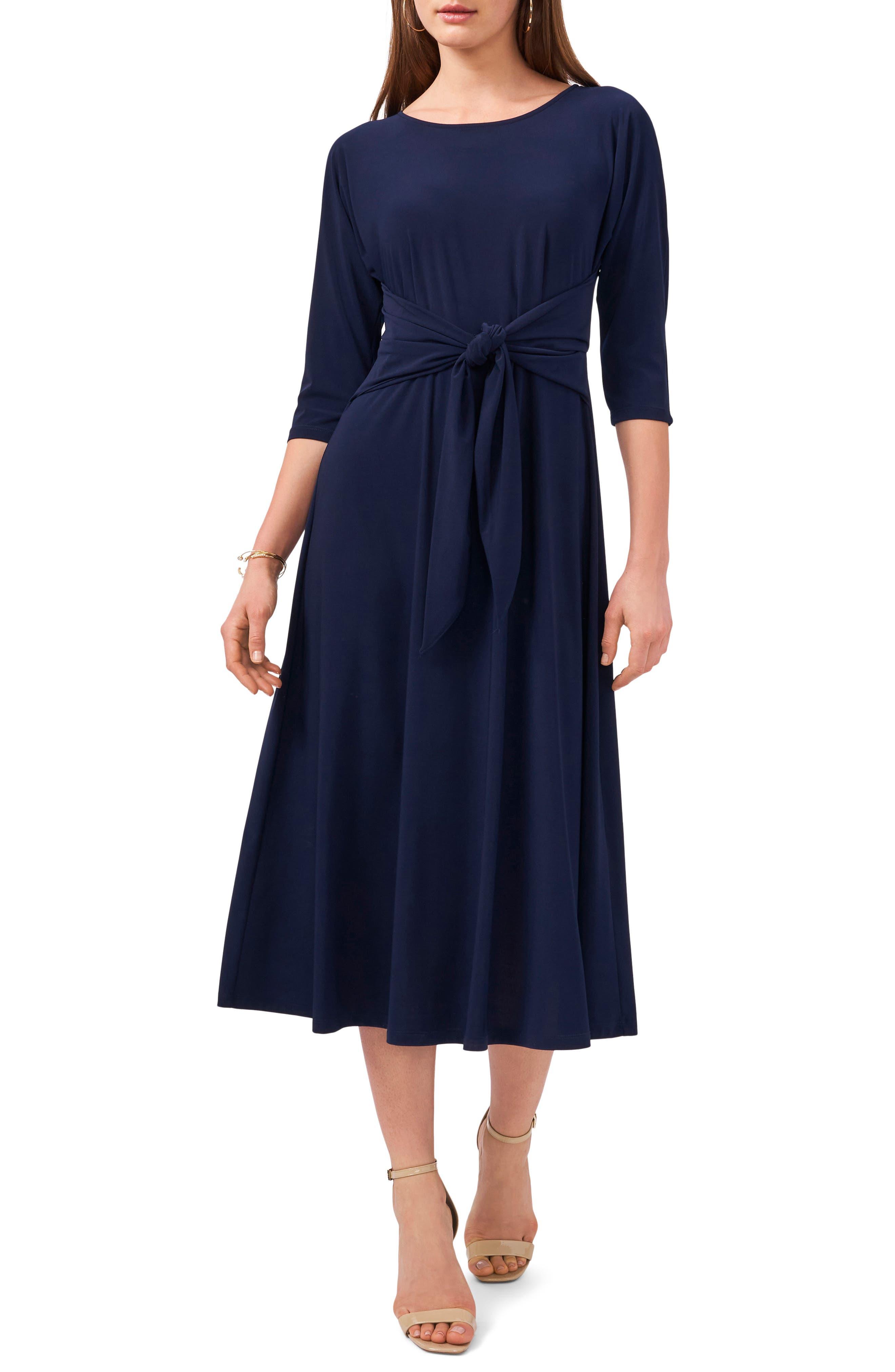 Tie Front Fit & Flare Midi Dress