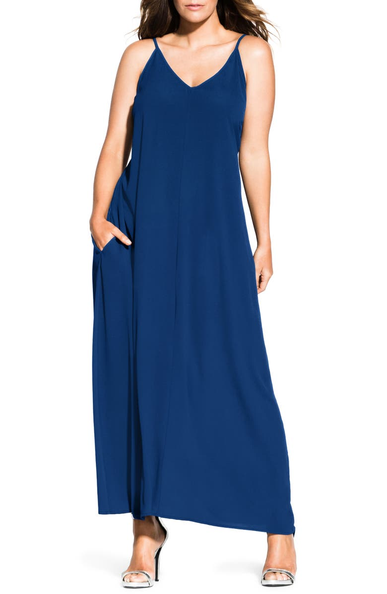 CITY CHIC V-Neck Maxi Dress, Main, color, SAPPHIRE