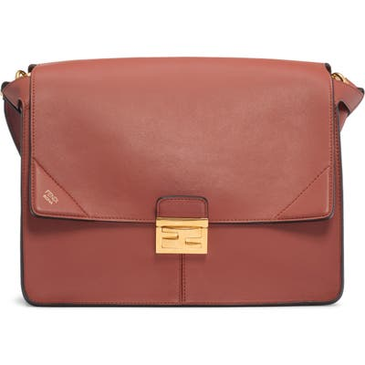 Fendi Large Kan I Leather Shoulder Bag - Brown