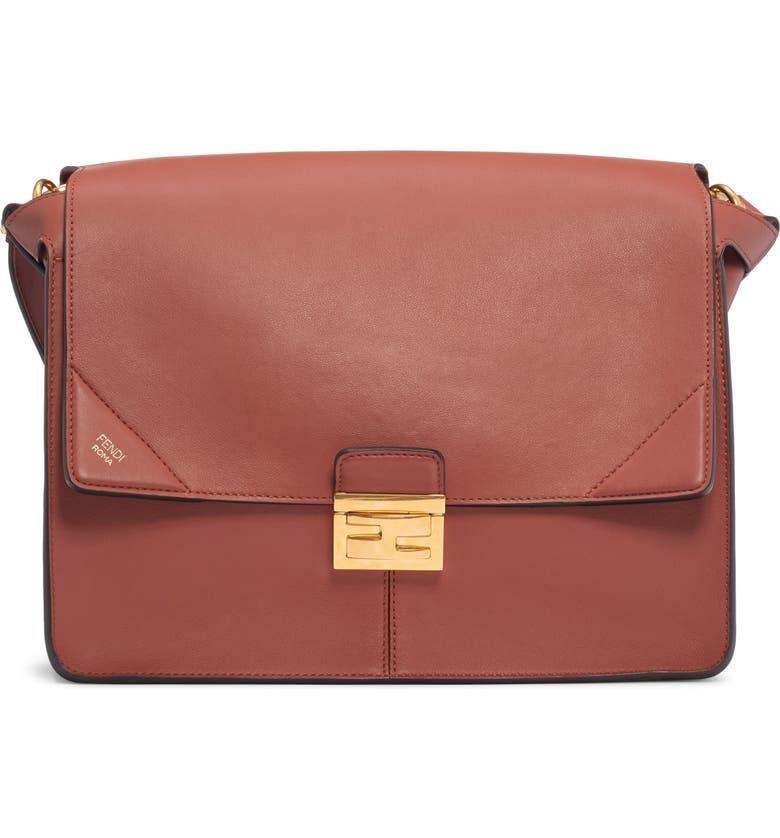 FENDI Large Kan U Leather Shoulder Bag, Main, color, RUST/ ORO VIBRATO